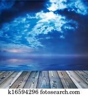 Deck view of a ocean