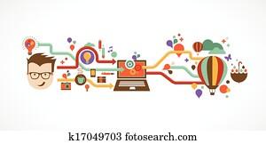 design,, creative,, idee, und, innovation, infographic