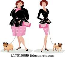 Dieting lady walking dog