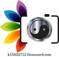 digital, camera-, photographie, logo