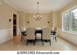 Dining room with candle sconces