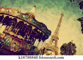 Eiffel Tower and vintage carousel, Paris, France