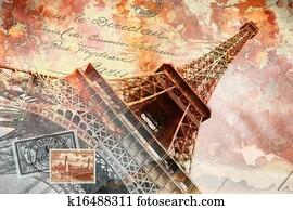 Eiffel tower Paris, abstract art