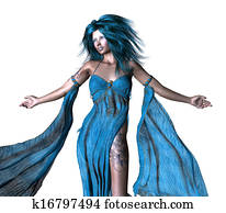 Fantasy woman with blue hair