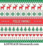 Feliz natal card pattern