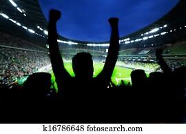 football,, fussballfans, unterstützung, ihr, team, und, feiern