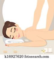frau entspannung, massage, heilbad