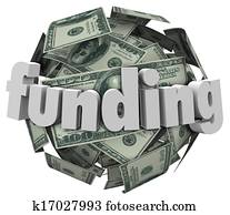 Funding Word Money 100 Dollar Bill Currency Ball