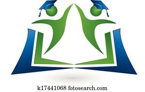 gemeinschaftsarbeit, studenten, mit, buch, logo