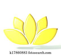 Gold lotus flower 3D image