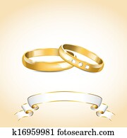 Clip Art Of Wedding Rings In Gold With Ribbon K8857049 Search