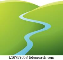 grüne hügel, blau, fluss