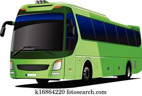 Green tourist bus. Coach. Vector il