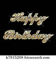 Happy birthday in gold with diamond