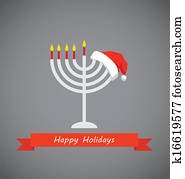 happy holidays, merry christmas and happy hanukkah