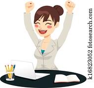 Happy Successful Woman Celebrating
