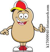 karikatur, kartoffel, tragen, a, baseball, c