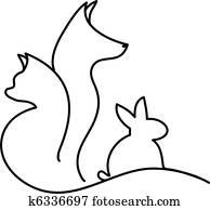katz, hund, und, kanninchen