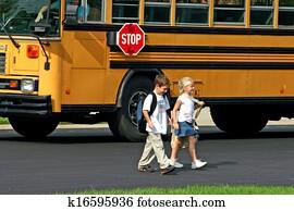 kinder, bekommen, aus, bus