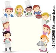 kochende, klassen, brett