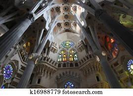 La Sagrada Familia, the unrealistic cathedral designed by Gaud in Barcelona Spain