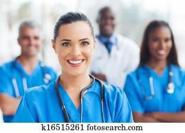 medizinische, krankenschwester, und, kollegen