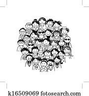 menschengruppe, für, dein, design