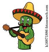 mexico cactus cartoon vector