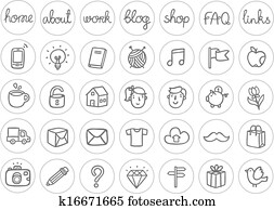 Miscellaneous doodle icons black and white