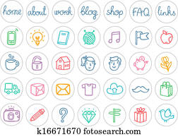 Miscellaneous doodle icons color on white