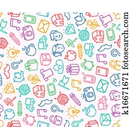 Miscellaneous doodle seamless pattern
