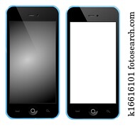 Mobile phone with blue box black