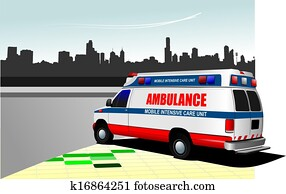 Modern ambulance van on city background. Colored vector illustration