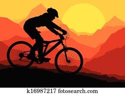Mountain bike bicycle riders in wild mountain nature