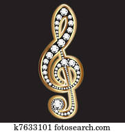 Musical notes in gold and diamonds