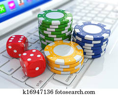 Online casino. Dices and chips on laptop.