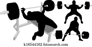 Powerlifting vector silhouettes