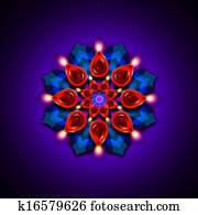 rangoli with diwali diya elements over dark background