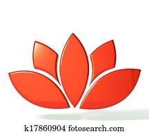 Red lotus flower 3D image