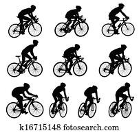 rennen, radfahrer, silhouetten
