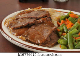 Stock Images Of Pot Roast Dinner Mashed Potatoes Carrots