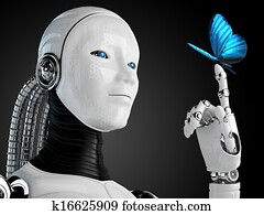robot android woman with butterfly