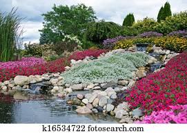 rock garden with waterfalls