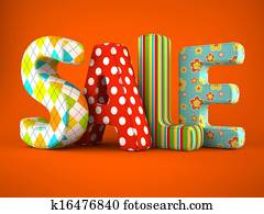 Sale word fabric on orange background