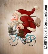 Santa Claus rides the bicycle