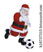 Santa playing football