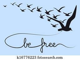 sein, frei, text, fliegen, birds,, vektor