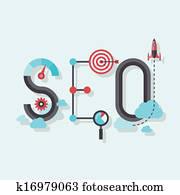 SEO word flat illustration