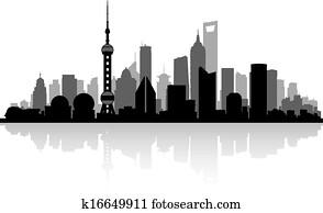 shanghai, china, stadt skyline, silhouette