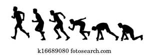 silhouettes of a man starting running